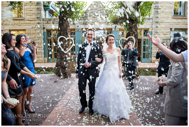 Bride and Groom Showered with Confetti De Hoek Country Hotel Gauteng Wedding Venue