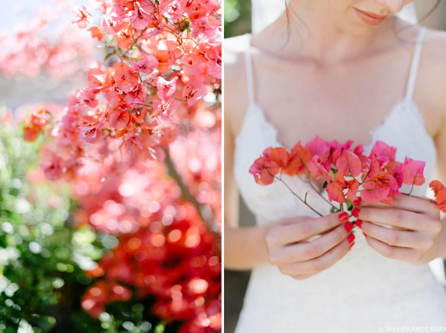 The bride and her pink bougainvillea wedding flowers