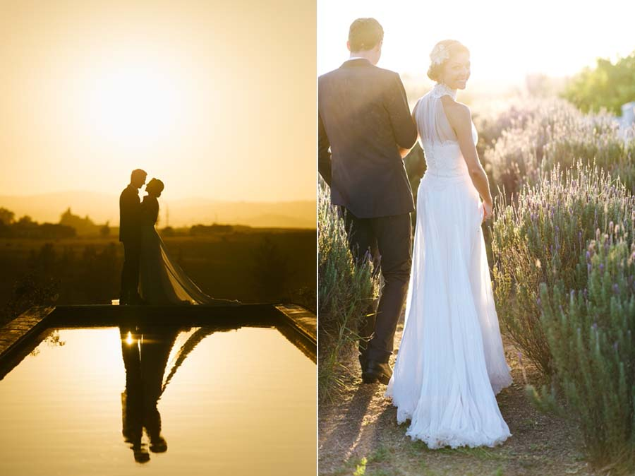 Wedding couple photographs with a setting sun