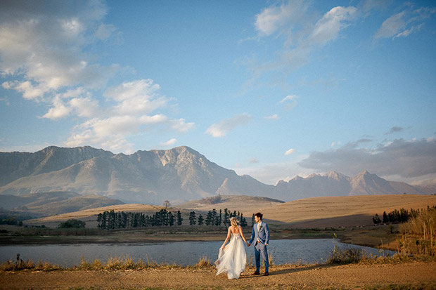 Bride and Groom Beautiful Landscape Wedding Photograph
