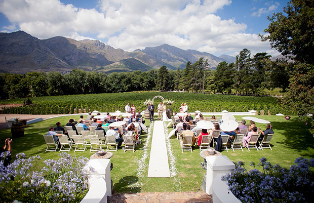 Wedding Ceremony At Rickety Bridge Venue Franschoek Cape Town