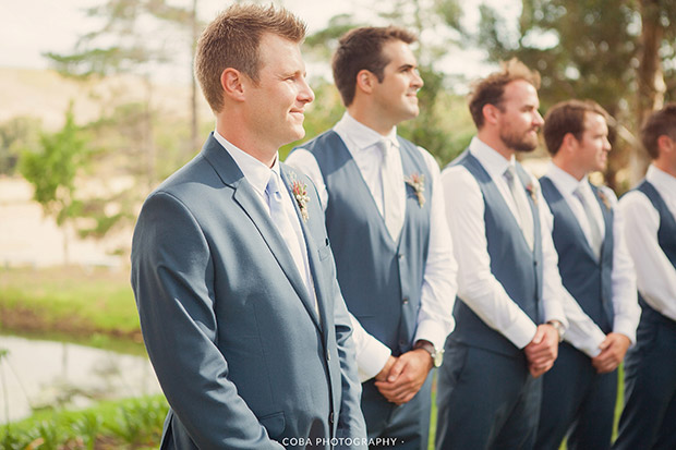 Groom and His Groomsmen Waiting For the Bride at Blue Gum Country Estate Wedding Venue