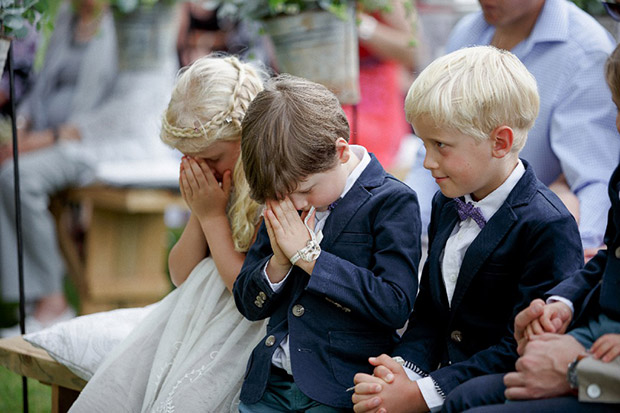 Young Kids Pray During Wedding Ceremony at The Oaks, Greyton