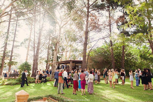 Pre-Drinks on the lawn at Blue Gum Wedding Venue Stanford