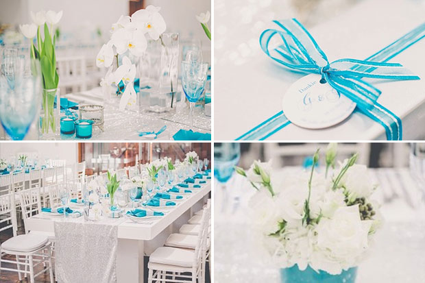 Wedding Decor and Flowers White and Turquoise