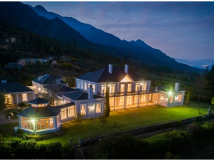 Faraway Estate Wedding Venue Aerial View Manor House Lit up at Night